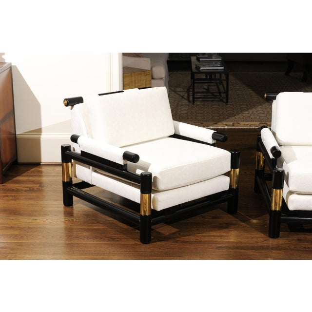 Breathtaking Pair of Modern Floating Pagoda Club Chairs by Baker, Circa 1980 For Sale - Image 9 of 13