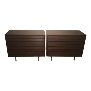 1960s Mid Century Modern Louvered Nightstands - a Pair For Sale