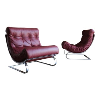 Renato Balestra Leather Lounge Chairs for Cinova Italy, Circa 1970 For Sale