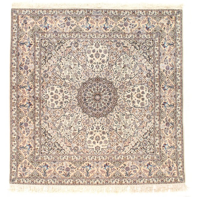 "Islamic Pasargad N Y Persian Nain Silk & Wool Rug - 6'11"" X 6'11"" For Sale - Image 3 of 3"