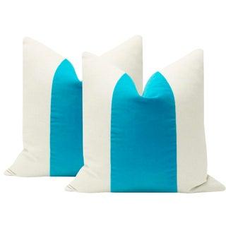 "22"" Turquoise Velvet Panel & Linen Pillows - A Pair For Sale"