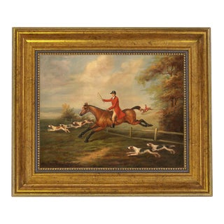 Oil Painting Print on Canvas, Fox Hunting Scene by j.n. Sartorius, Framed For Sale