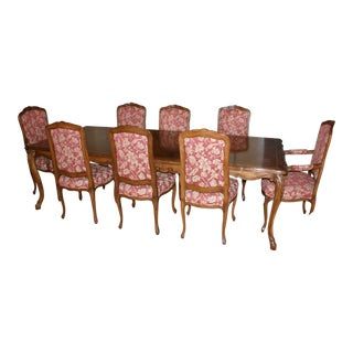 French Country Fremarc Brick Red Wood Dining Set - 9 Pieces