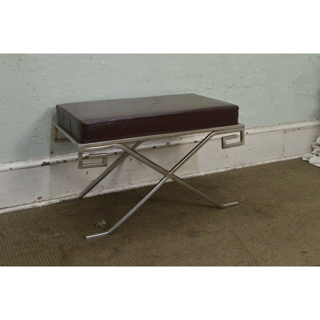 Hollywood Regency Greek Key Silver X Benches - A Pair For Sale In Philadelphia - Image 6 of 13