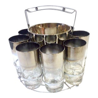 Silver Fade Ombré Glasses Drink Set With Ice Bucket & Carrier - 10 Piece Set For Sale