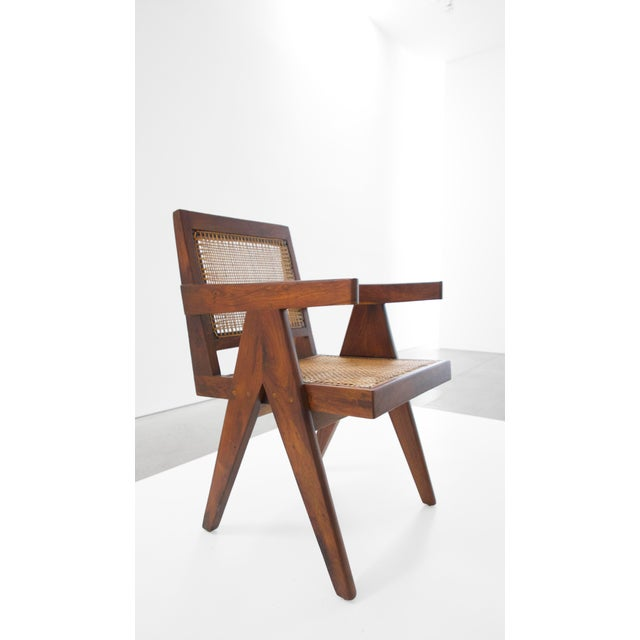 Caning Pierre Jeanneret Teak Conference Chair From Chandigarh, India, C. 1952 - 1956 For Sale - Image 7 of 10
