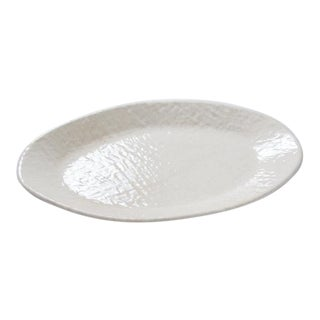 """Melamine Resin White Weave Oval Serving Dish 14"""" x 10"""" For Sale"""