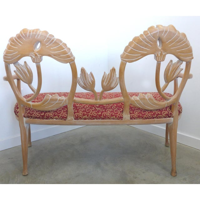 Modern LaVerne Style Carved Wood Settee For Sale - Image 3 of 12