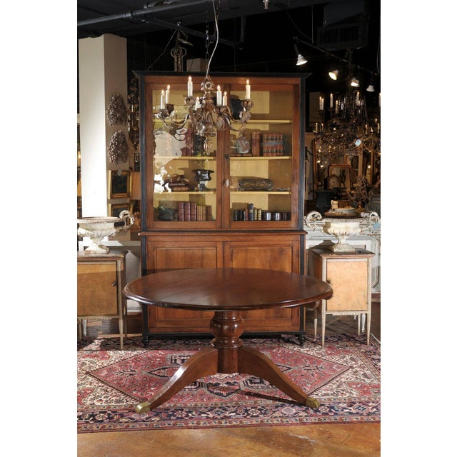 Italian Italian Round Walnut Pedestal Dining Table with Tilt-Top and Bronze Accents For Sale - Image 3 of 10