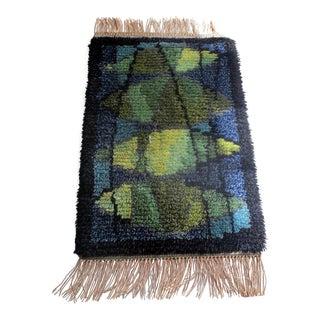 1960s Vintage Mid-Century Modern Wool Rya Rug - 1′10″ × 3′10″ For Sale