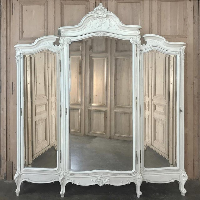 Late 19th Century 19th Century French Louis XV Painted Triple Armoire For Sale - Image 5 of 13
