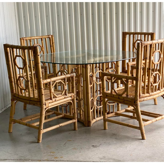 Vintage Medallion Bamboo Dining Table and Chairs - Set of 5 For Sale In Miami - Image 6 of 10