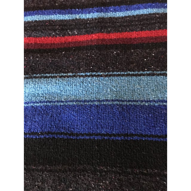 Navajo Style Red Blue Gray Woven Cotton Throw Blanket For Sale - Image 4 of 8