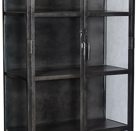 Industrial Black Iron And Glass Display Cabinet. This Is A Unique Piece For Displaying  Dishes