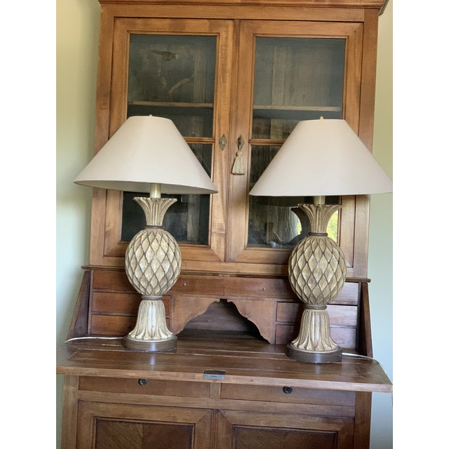Beige and Brown Carved Wooden Table Lamps - a Pair For Sale - Image 11 of 12