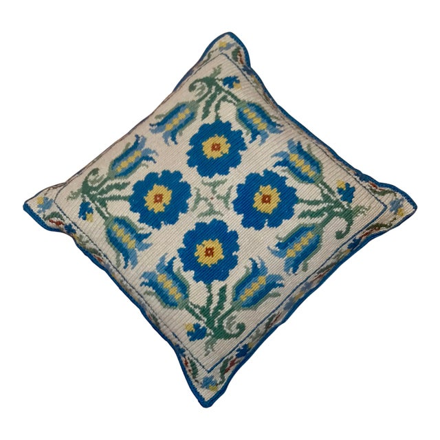 1950s Shabby Chic Handmade Needlepoint Pillow For Sale