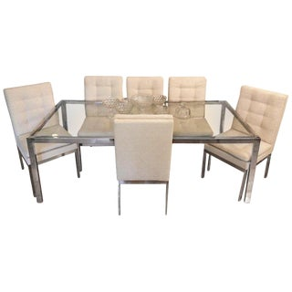 Milo Baughman Dining Table With 6 Thibaut Chairs For Sale