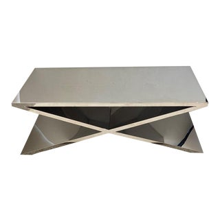 Vintage X-Base Cocktail Table Polished Nickel Plated Italian Modern For Sale