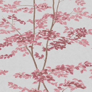 "Lewis & Wood Beech Rose Extra Wide 52"" Botanic Wallpaper Sample For Sale"