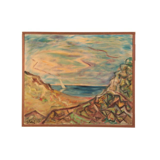 Steven Sles Oil on Linen Painting Circa 1955 For Sale - Image 4 of 4