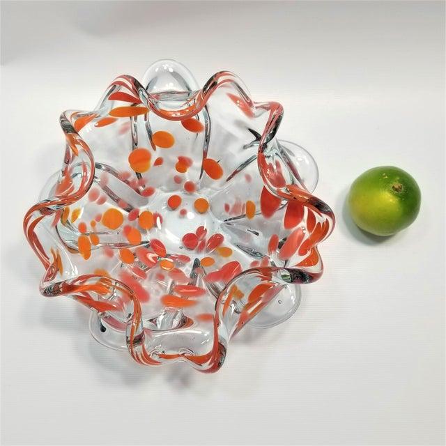Orange Large Vintage Murano Glass Bowl - Mid Century Modern Italian Italy Venetian Palm Beach Boho Chic Orange For Sale - Image 8 of 9