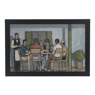 """Card Game"" English Oil in Custom Wood Frame For Sale"