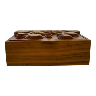 Interesting Studio Made Carved Box in Walnut For Sale