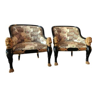 Lion Head Rest Ebonized Hollywood Regency Armchairs - A Pair