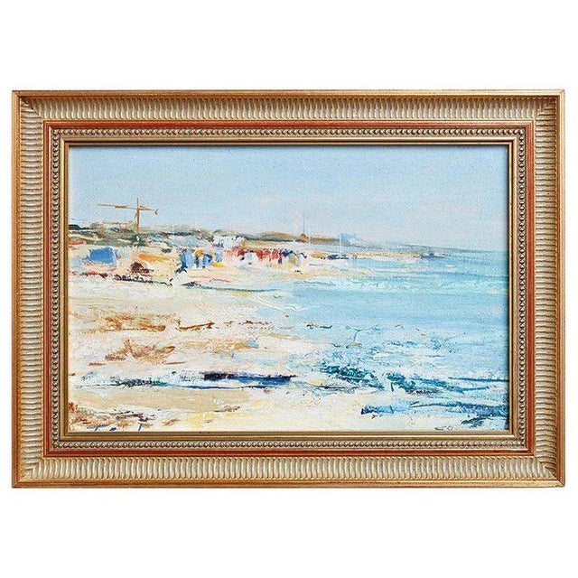 Mid Century T. Scola Coastal Painting Oil on Board For Sale - Image 13 of 13