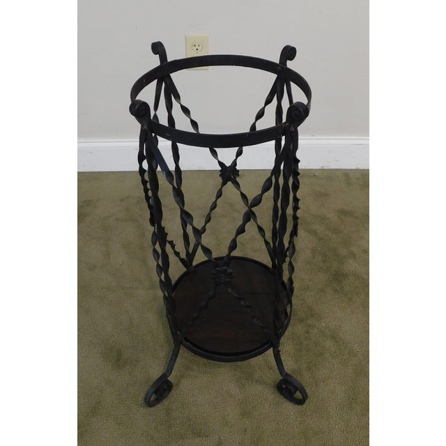 Metal Aesthetic Antique Hand Wrought Iron Umbrella Stand For Sale - Image 7 of 13