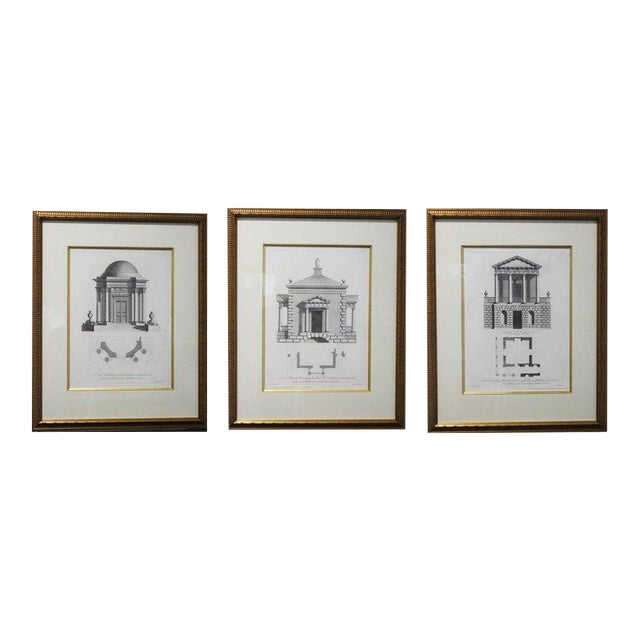 Antique 1759 William Chambers Chromolithographs on Architecture - Framed Set of 3 For Sale