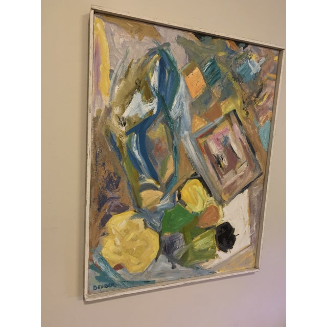 Mid Century Modern Abstract Art of a Female Original Oil on Canvas Signed Bender For Sale - Image 4 of 7