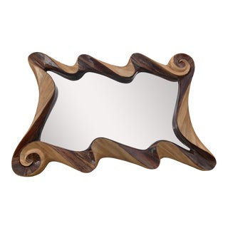 Monumental Spiral Restored Organic Olive Wood Handcarved Reflection Mirror For Sale
