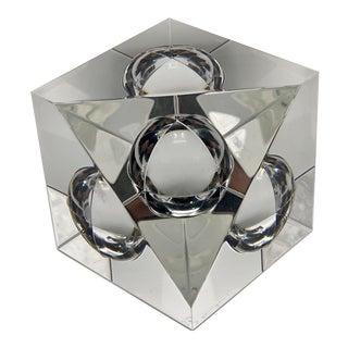 Vintage Steuben Crystal Floating Spheres Cube Prism Paperweight For Sale