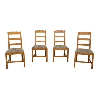 Set of 4 Eldred Wheeler Tiger Maple Ladder Back Chairs For Sale