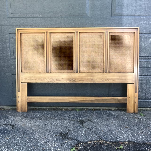 Brown Mid Century Walnut Caned Queen Headboard For Sale - Image 8 of 8