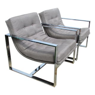 1960s Mid-Century Modern Milo Baughman Gray Upholstered Cube Chairs - a Pair