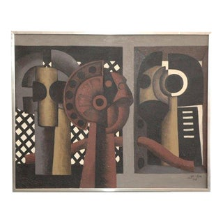 Aluminum Framed Cubist Composition Painting by Jose Herrera For Sale