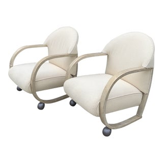Petite Art Deco Style Boucle Club Chairs - a Pair For Sale