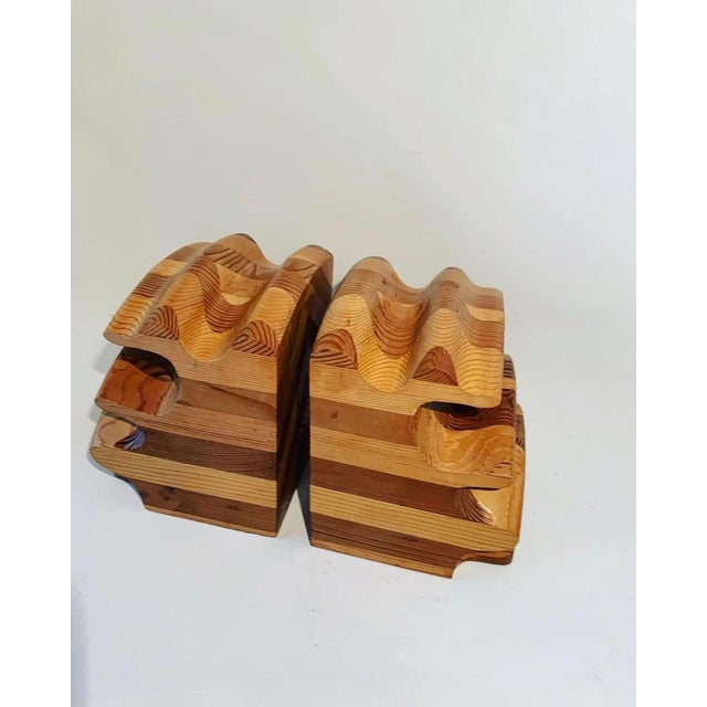 Don Shoemaker Pair of Wood Bookends in the Manner of Don Shoemaker For Sale - Image 4 of 5