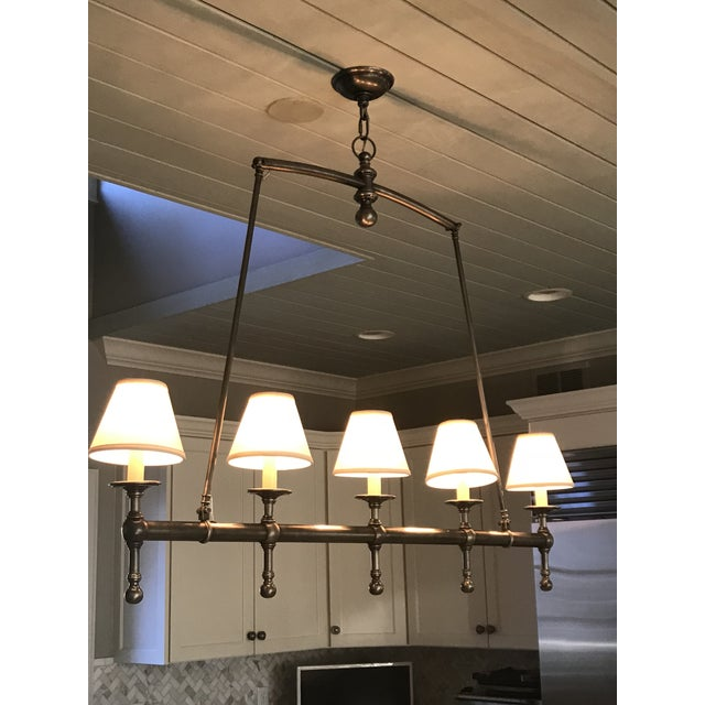 2010s Visual Comfort Linear 5 Light Pendant in Antique Nickel With Silk Shades. For Sale - Image 5 of 6