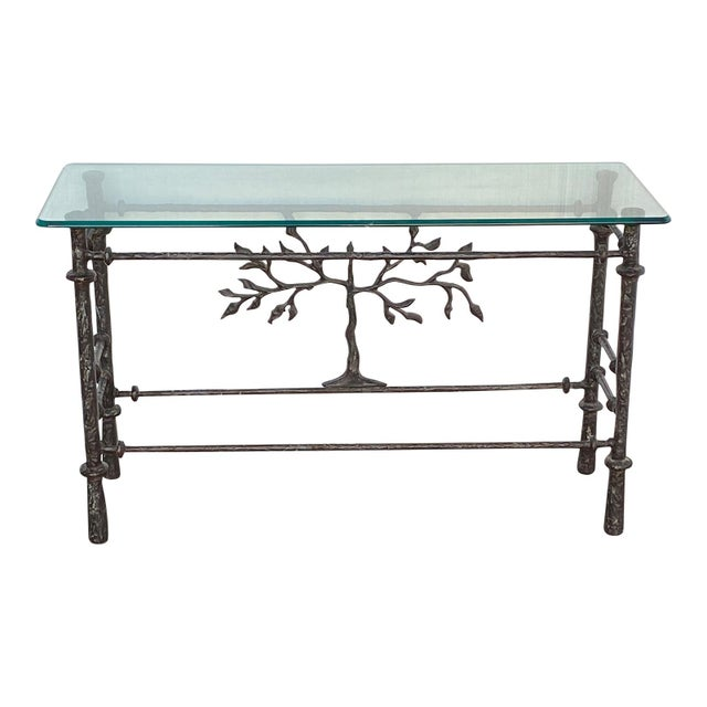 Diego Giacometti 1970s Giacometti Style Welded Metal & Glass Console Table For Sale - Image 4 of 8