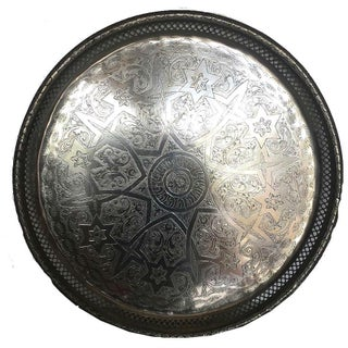 Matthew Vintage Moroccan Silver Tray For Sale