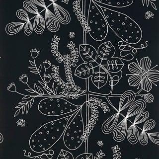 Schumacher Blommen Wallpaper in Ebony For Sale