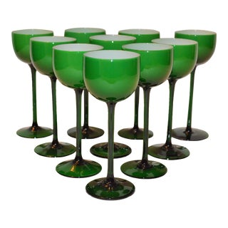 Carlo Moretti White Cased Melon Green Stemware - Set of 8 For Sale