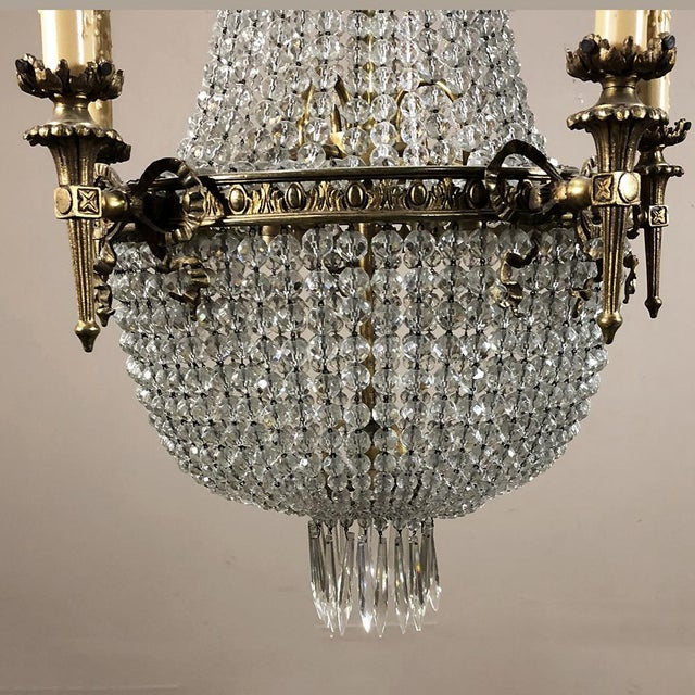 Antique Sack of Pearls Crystal Chandelier For Sale - Image 11 of 13