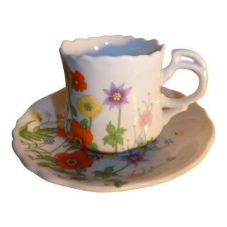 1960's Wild Flower Tea Cup and Saucer For Sale