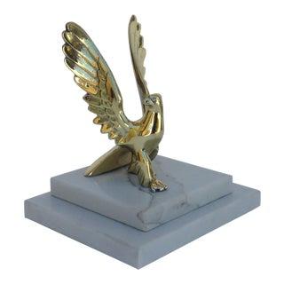 Vintage Bronze Eagle On Marble Platform Base For Sale