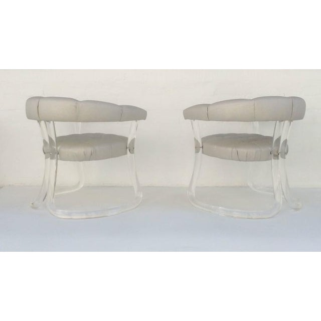 Pair Sculpted Acrylic Armchairs For Sale - Image 9 of 10