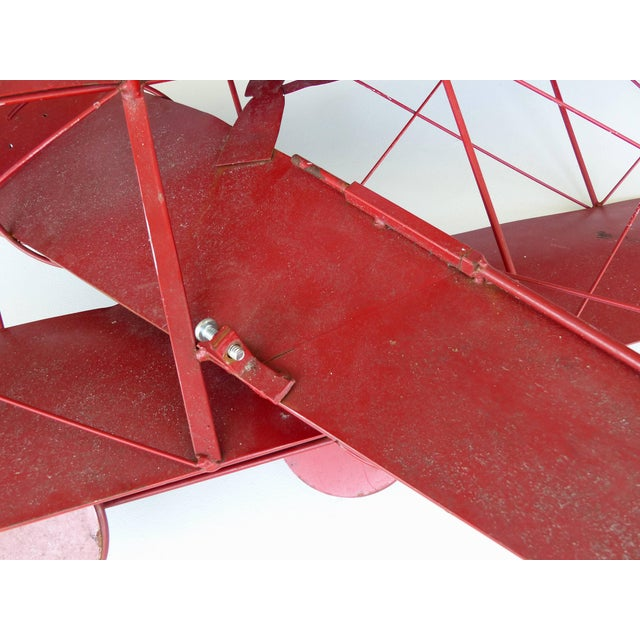 Large Three Dimensional Iron and Brass Wall Sculpture of an Airplane in Flight For Sale - Image 9 of 10